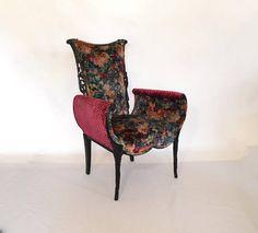 Hollywood Regency Chair Carved Black Floral Upholstered