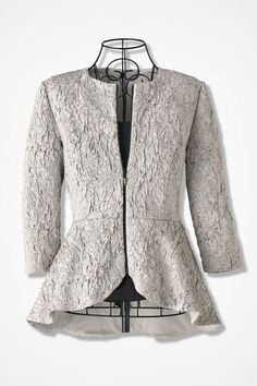 Modern Platinum Peplum Jacket by Alex Evenings - Coldwater Creek Lace Bolero Jacket, Peplum Jacket, Lace Blazer, Modest Fashion, Hijab Fashion, Fashion Outfits, Model Kebaya Modern, Pakistani Clothes Online, Thailand Fashion