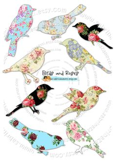 Birds and roses Paper Birds, Fabric Birds, Scrapbook Paper, Scrapbooking, Bird Template, Paper Art, Paper Crafts, Bird Quilt, Bird Crafts