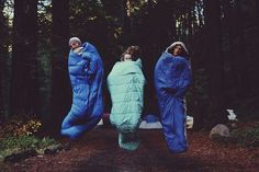 we are young! camping tent friends wander travel wild sleepover sleeping bag