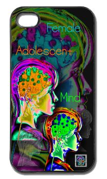 """Female Adolescent Mind""(c) on an iPhone cover.  (c) 2013 Textiles for Thinkers, LLC.  All Rights Reserved."