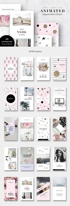 Animated Instagram Story Templates Photoshop, pink, gold, clean, minimal, feminine, social media pack, fashion, style, travel, lifestyle, glitter, blog. #affiliate #socialmedia #blogging