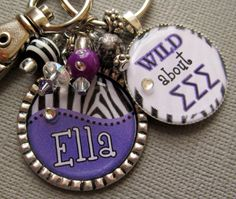Sorority Greek Symbols PERSONALIZED Name Zebra Silver by buttonit, $20.00    I want this!!!