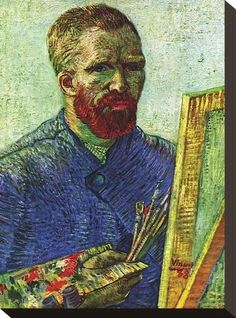 Stretched Canvas Print: Self Portrait in Front of Easel by Vincent van Gogh : 12x9in