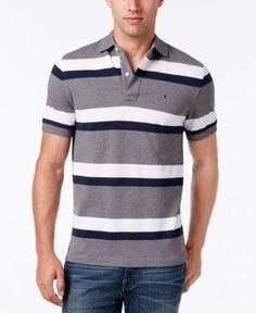 Tommy Hilfiger Men's Big & Tall Ace Striped Polo - Gray XLT