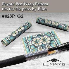 Peyote pen cover patterns, pattern for G2 pen by Pilot, pen wrap, peyote patterns, beading, peyote stitch, digital file, pdf pattern #028PG2