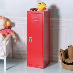Costway 48'' Kid Locker Safe Storage Children Single Tier Metal Lockers Lock And Key Red