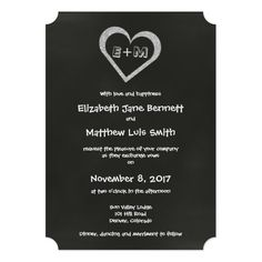 Shop Bilingual Chalkboard Heart Wedding Invitation created by Bilingual_Designs. Personalize it with photos & text or purchase as is! Spanish Wedding Invitations, Chalkboard Wedding Invitations, Heart Wedding Invitations, Personalized Invitations, Zazzle Invitations, Party Invitations, Laid Back Wedding, Black And White Heart, Paper Design
