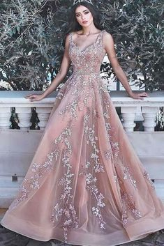 Wanna Evening Dresses,Prom Dresses in Tulle, A-line style, and delicate Appliques work? Babyonlinewholesale has all covered on this elegant Romantic V-neck Sleeveless Champagne Pink Prom Dresses Appliques Dresses Elegant, Pretty Dresses, Formal Dresses, Pink Prom Dresses, Quinceanera Dresses, Dresses Dresses, Mauve Prom Dress, Fairy Prom Dress, Cheap Pageant Dresses