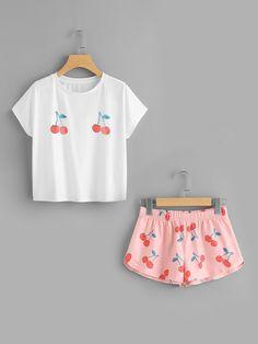 Conjunto estampado y camiseta con estampado de cereza -SheIn (Sheinside)