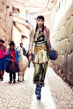 """La Señorita Bello"" | Model: Han Hye Jin, Photographer: Alexander Neumann, Cusco, Peru, Vogue Korea, July 2012"