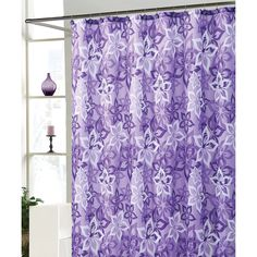 Victoria Classics Purple Bradley Shower Curtain Set ($14) ❤ liked on Polyvore featuring home, bed & bath, bath and shower curtains