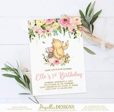 Classic Winnie the Pooh Birthday Invitation, Winnie the Pooh Birthday Invitation, Floral Girl Winnie the Pooh Birthday Invitation Party by PrisellieDesigns on Etsy Pooh Baby, Winnie The Pooh Birthday, Girl First Birthday, First Birthday Parties, Birthday Ideas, Birthday Photos, Baby Birthday, Birthday Gifts, Baby Shower Invitations