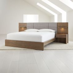 Sale ends soon. Shop Atlas Queen Bed with Panel Nightstands. All intriguing lines and grey-washed oak veneer, Atlas is a versatile bedroom collection that builds up or down to suit your style. Bedroom Bed Design, Bedroom Furniture Design, Bed Furniture, Bedroom Sets, Master Bedroom, Bedroom Decor, Bedroom Colors, Bedroom Neutral, Gold Bedroom
