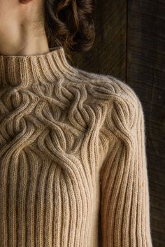 botanical yoke pullover - ribbed knitting pattern from Purl Soho Cable Knitting, Vogue Knitting, Knitting Stitches, Hand Knitting, Knitting Sweaters, Knitting Needles, Knitting Designs, Knitting Projects, Pull Torsadé