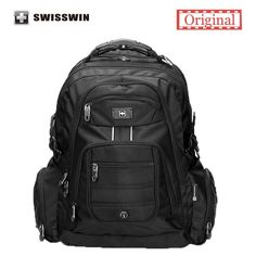 Backpacks Swisswin 17 inch Men's Laptop Backpack Waterproof Nylon Notebook Computer Bag High Quality Big Travel Backpack Black *** This is an AliExpress affiliate pin. Locate the offer on AliExpress website simply by clicking the VISIT button Waterproof Laptop Backpack, Laptop Rucksack, Laptop Bag, 17 Laptop, Black Backpack, Nylons, Bags Travel, Travel Backpack, Travel