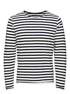 JACK & JONES VINTAGE CLOTHING - Gestreiftes Basic-T-Shirt von VINTAGE - Slim fit - Rundhals - Langärmelig - Markenlogo-Patch am Saum 100% Baumwolle...