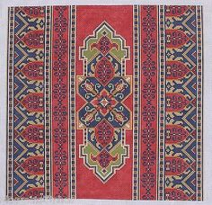 CanvasWorks PO115A Ushak Stripe Red Blue Green Hand Painted Needlepoint Canvas