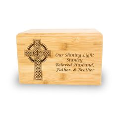 Find the right solution for your loved one with our Celtic Cross Bamboo Cremation Urn. Our selection offers something for every taste and budget. Cross Symbol, Bamboo Box, Cremation Urns, Bamboo Cutting Board, Biodegradable Products, Celtic, Projects To Try, Symbols, Display