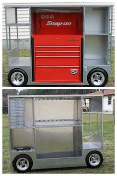 Garage Tools, Car Tools, Garage Shop, Garage Workshop, Rolling Tool Box, Metal Tool Box, Easy Garage Storage, Tool Storage, Welding Cart
