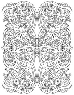 Adult Coloring Page from Pour Prendre Mon Envol Coloring Book. Cool Coloring Pages, Mandala Coloring Pages, Animal Coloring Pages, Coloring Pages To Print, Coloring Books, Detailed Coloring Pages, Butterfly Coloring Page, Printable Adult Coloring Pages, Colorful Drawings