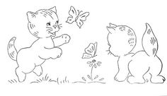 play cat s Baby Embroidery, Hand Embroidery Patterns, Quilt Patterns Free, Cross Stitch Embroidery, Cross Stitch Patterns, Cat Coloring Page, Coloring Books, Coloring Pages, Butterfly Drawing