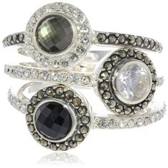 """Judith Jack """"Color Stack Item"""" Sterling Silver, Marcasite and Multi-Black Stack Ring, Size 8 Judith Jack,http://www.amazon.com/dp/B00CAPOIWE/ref=cm_sw_r_pi_dp_Uf4qtb0EW6JQ3738"""