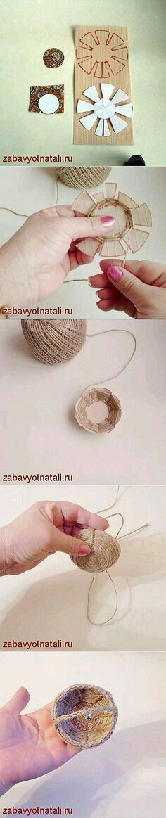 """Laboratorio spago """"Craft basket weave Really neat little baskets!"""", """"Discover thousands of images about mini cassetta di legno fai da te - tutorial"""", Hobbies And Crafts, Fun Crafts, Diy And Crafts, Crafts For Kids, Arts And Crafts, Paper Crafts, Kids Diy, Craft Projects, Projects To Try"""