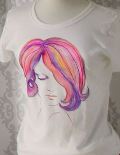 Watercolor painting on a t-shirt with tulip fabric markers