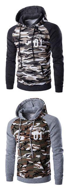 Kangaroo Pocket Camo Long Sleeve Hoodie For Men