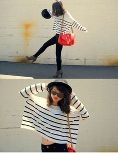 Stripes, oversized, sweater.