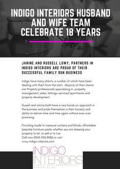 Read about husband and wife team Russell and Janine celebrating  Indigo Interiors 18 year anniversary #DressToLet #DressToSell #DressToLive #FamilyRunBusiness