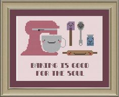 Baking is good for the soul: cute by nerdylittlestitcher on Etsy
