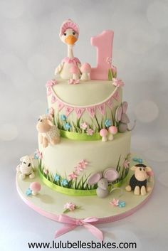 An adorable Beatrix Potter cake by Lulubelle Bakes from Cakes Decor. 1st Birthday Cake For Girls, Baby Birthday Cakes, Baby Girl Cakes, Cupcakes, Cupcake Cakes, Beatrix Potter Cake, Farm Cake, Fondant Decorations, Fondant Cakes