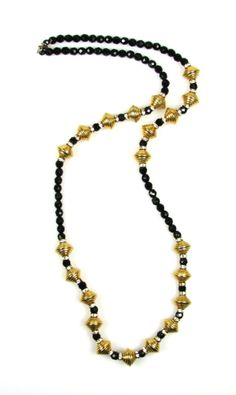 Hobe Jet Bead and Gold Tone Bead Necklace 1970s. $185