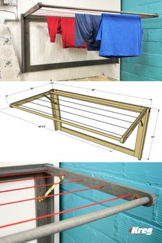 FREE PROJECT PLAN: How to Build a DIY Fold-Down Laundry Drying Rack - This wall-mounted laundry drying rack offers almost 20 feet of clothesline for air-drying clothes, - Drying Rack Laundry, Clothes Drying Racks, Folding Clothes Rack, Outdoor Clothes Lines, Diy Clothes Lines, Wall Mounted Drying Rack, Laundry Room Design, Home Decor Furniture, Diy Wall