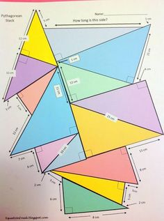 Pythagorean Theorem I absolutely love this post from great maths teaching ideas for a trigonometry-pile-up. However, I don't teach trigonometry in my grade math classes but I do teach Pythagorean Theorem. I decided Geometry Lessons, Teaching Geometry, Geometry Activities, Math Lessons, Teaching Math, Math Activities, Teaching Ideas, Math Tutor, Math Teacher