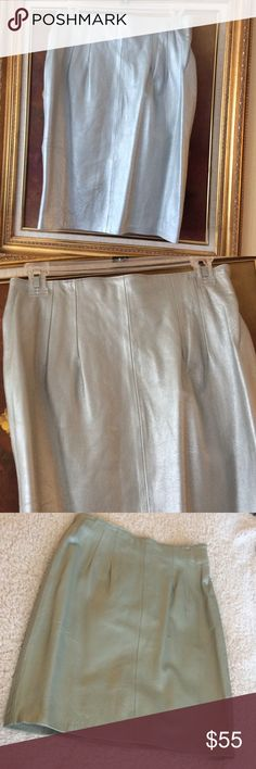 "💞Genuine 100% leather 💞pencil knee length  skirt New with tag, beautiful silver color, length 22"", waist 15"" laying down Evan Davies Skirts Midi"