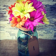 Mason Jar Wedding Centerpiece Table Number Tags Fall Wedding Autumn Wedding Mason Jar Decorations Country Rustic Wedding Table Numbers. $1.25, via Etsy.