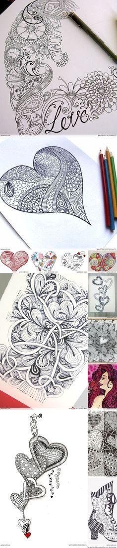 Zentangle-Love -Zeichnung-Muster
