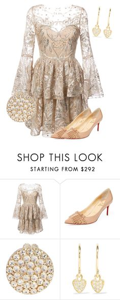 """""""Untitled #195"""" by angelbear38 ❤ liked on Polyvore featuring Notte by Marchesa, Christian Louboutin and Jennifer Meyer Jewelry"""