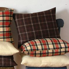 Warm & cozy tartan pillows.   Could make from old flannel shirts and bathrobes!