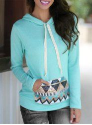 Cute Hooded Geometric Print Candy Color Pullover Hoodie For Women - LAKE BLUE XL
