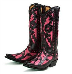 Lane Boots Poison in Pink / Black Leather Fashion Cowgirl Boots.beautiful color & different! Black Cowgirl Boots, Pink Boots, Cowboy Boots Women, Western Boots, Black Boots, Western Wear, Western Style, Wedding Boots, Wedding Dress