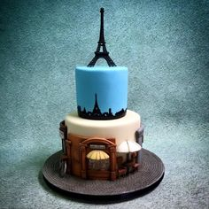 Paris streets cake with Eiffel Tower