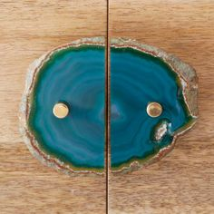 Agate + Brass Cabinet Pull, Green NEED THIS ASAP