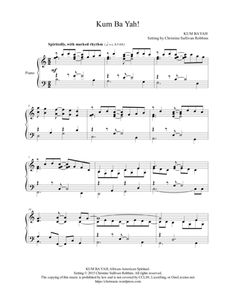 Kum Ba Yah (Come By Here) Piano Sheet Music Arrangement. This is Kum Ba Yah like you've never heard it! Not for the faint of heart (or for a meditative time during worship!), this zany, rhythmic piano arrangement is a fun worship service prelude or postlude - especially for Pentecost or a Confirmation service - and it also makes a great recital piece. This downloadable score is available at Sheet Music Plus. (affiliate link)