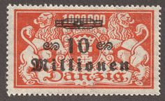 """Danzig 1923 Scott 143 10mil m orange """"Coat of Arms"""" The surcharge clearly demonstrates the inflationary crisis"""