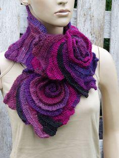 Crochet Scarf Roses Shadows Purple Black Unique Capelet textured Freeform crochet Womens scarf Neck Warmer Womens scarf scarf gift