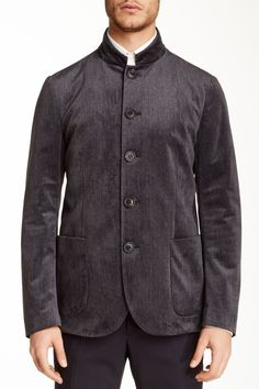 Solid Dark Grey Five Button Mandarin Collar Blazer by Giorgio Armani Uomo on @HauteLook